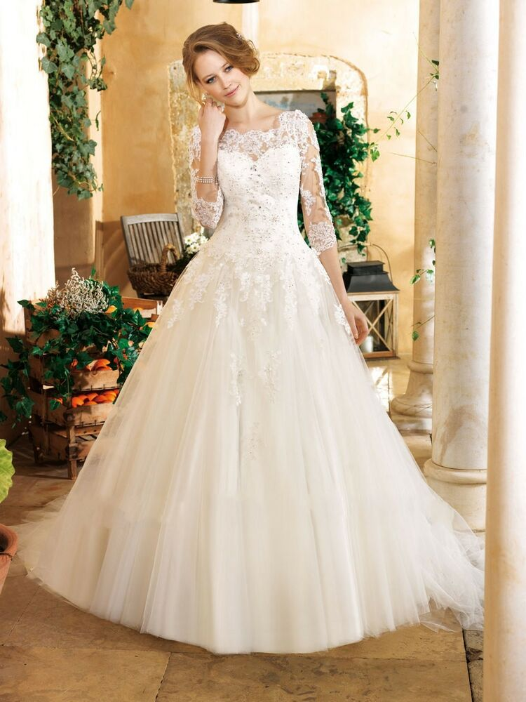 New elegant with 3 4 sleeve ball gown wedding dress lace for 3 4 sleeve ball gown wedding dress