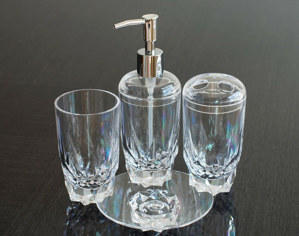 Qg diamond shape heavy base crystal clear acrylic plastic for Clear bathroom accessories