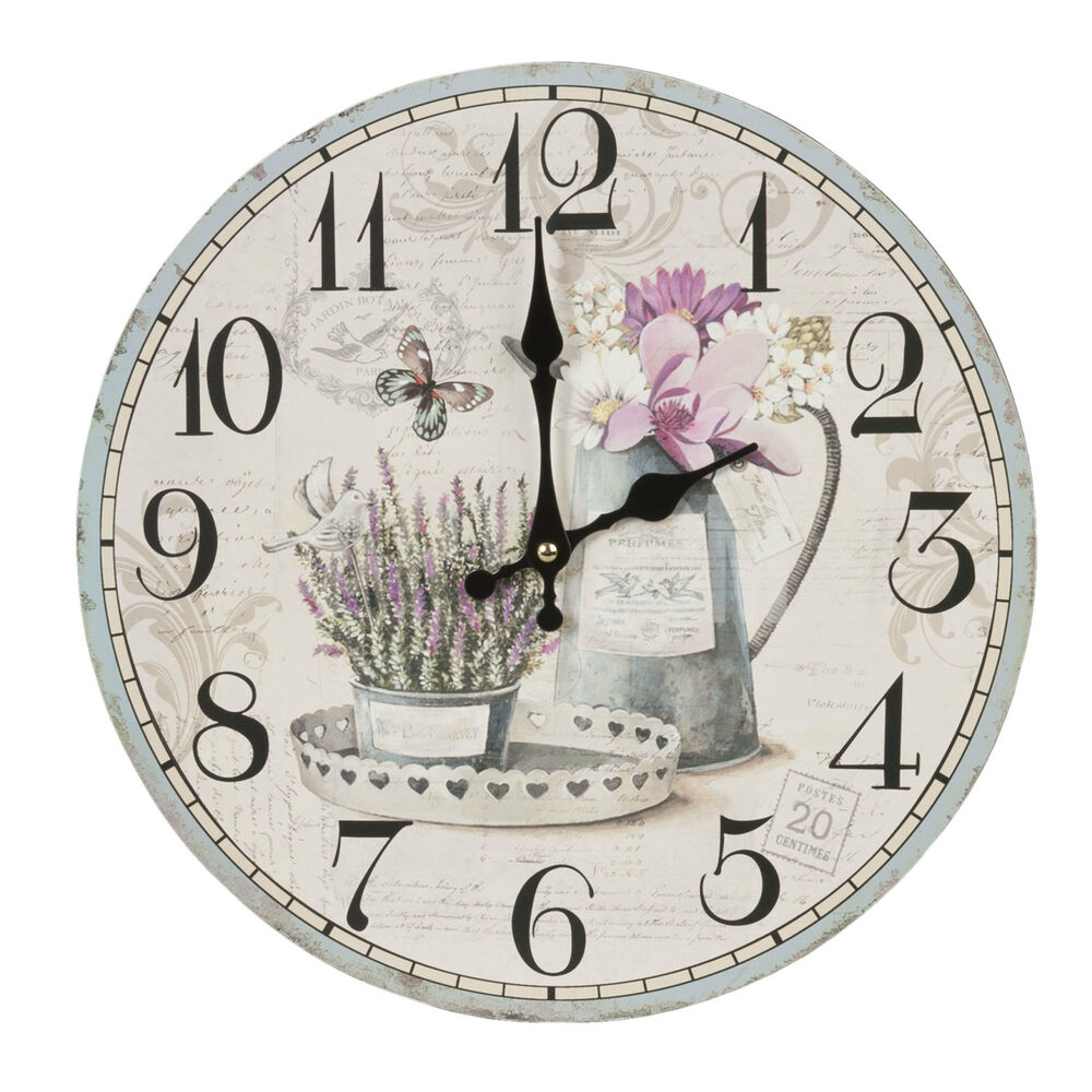 clayre eef vintage wanduhr nostalgie uhr landhausstil shabby chic kanne lavendel ebay. Black Bedroom Furniture Sets. Home Design Ideas