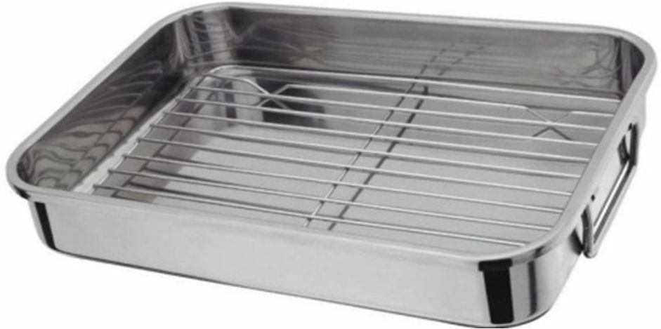 stainless steel roasting tray oven pan dish baking roaster. Black Bedroom Furniture Sets. Home Design Ideas