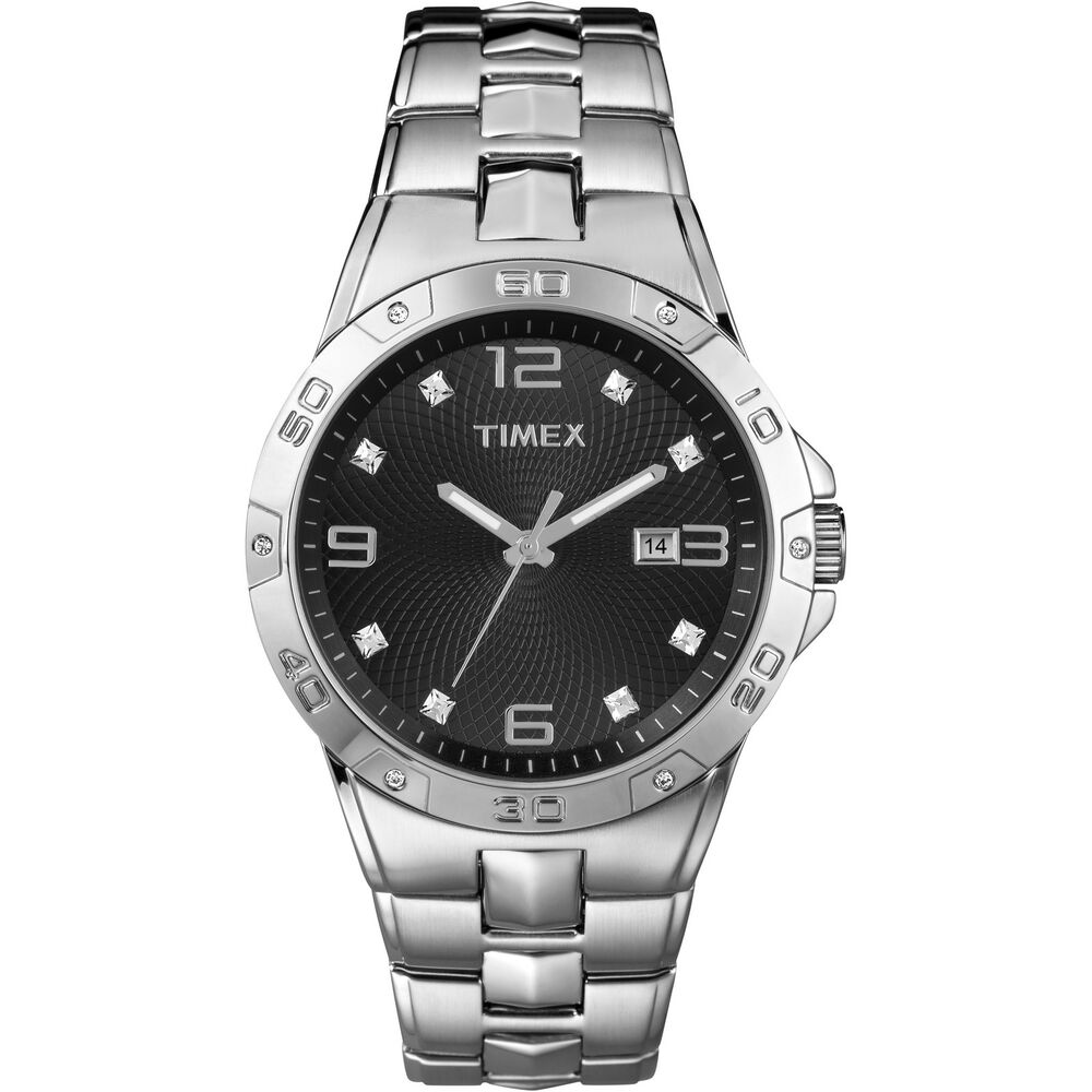 Timex men 39 s swarovski crystal accents silver tone dress watch black dial t2p261 ebay for Crystal watches