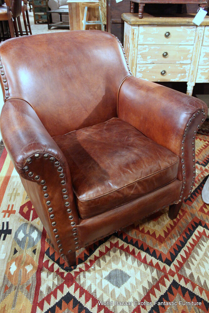 34 Quot Wide Club Chair Vintage Brown Cigar Distressed Leather
