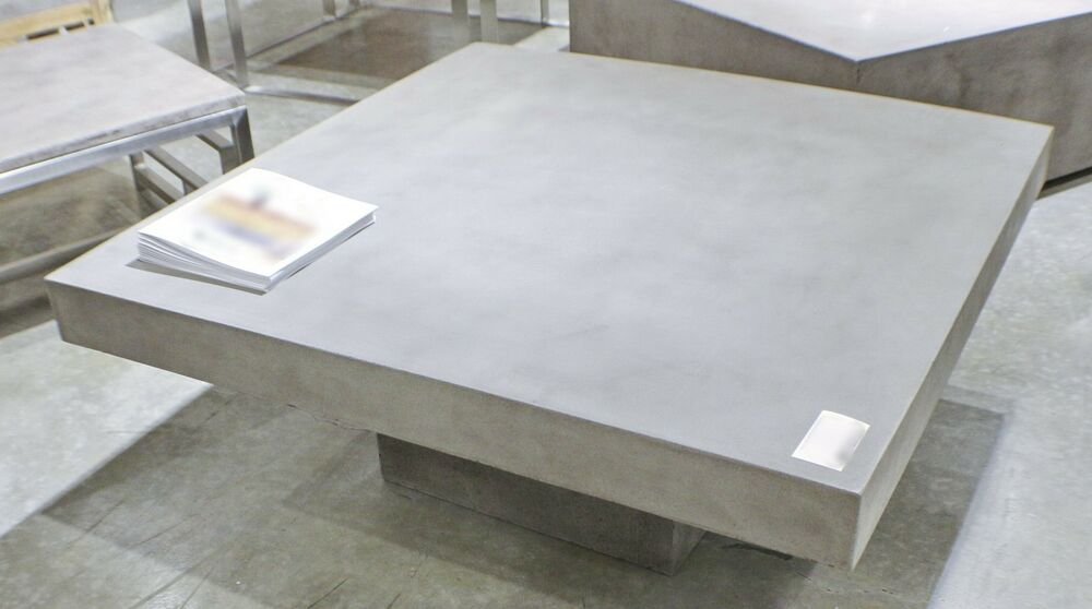 43 Square Coffee Table Solid Concrete Slab Top Cement Sealed For Indoor Outdoor Ebay
