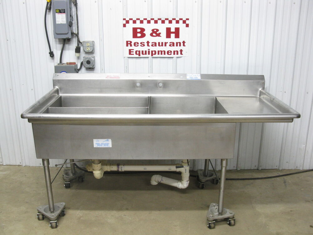 77 Quot X 36 Quot Three 3 Bowl Compartment Stainless Steel Prep