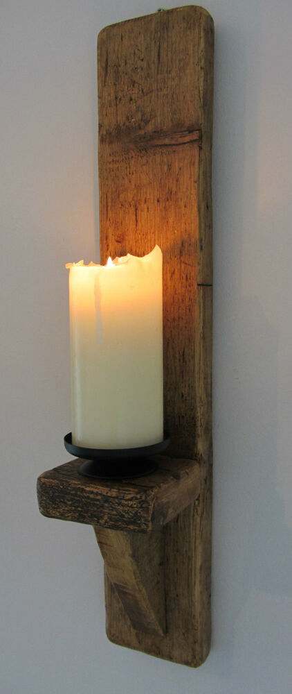 Large 60cm Rustic Solid Wood Handmade Shabby Chic Wall Sconce Candle Holder eBay