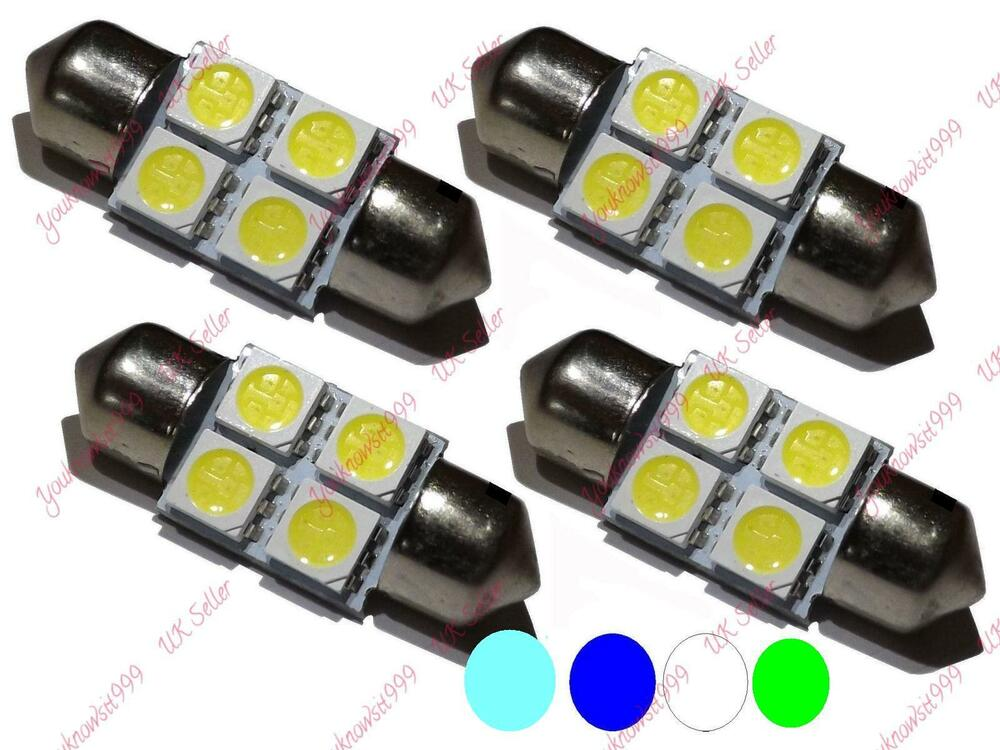 festoon bulbs 30 31mm 4 smd led 5050 c5w white blue ice green interior light car ebay. Black Bedroom Furniture Sets. Home Design Ideas