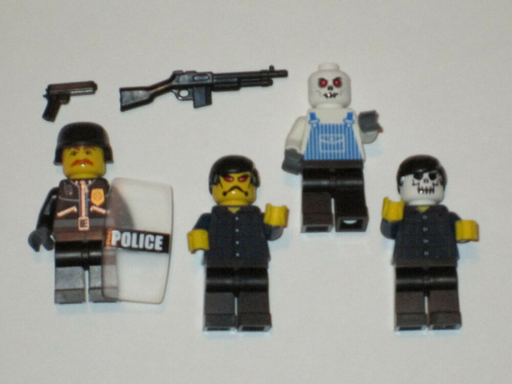 lego custom 4 minifigs zombie attack police set w gun and