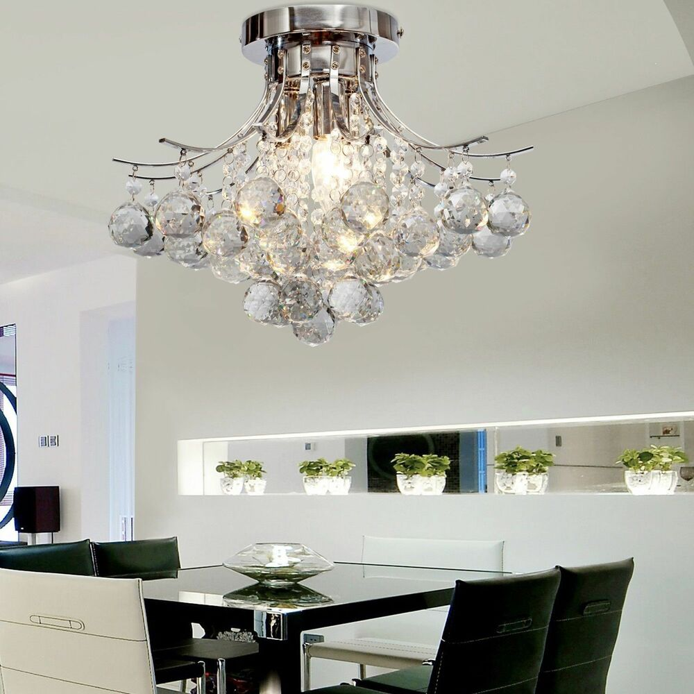Modern bestcrystal chandelier ceiling light pendant lamp for Ebay living room lights