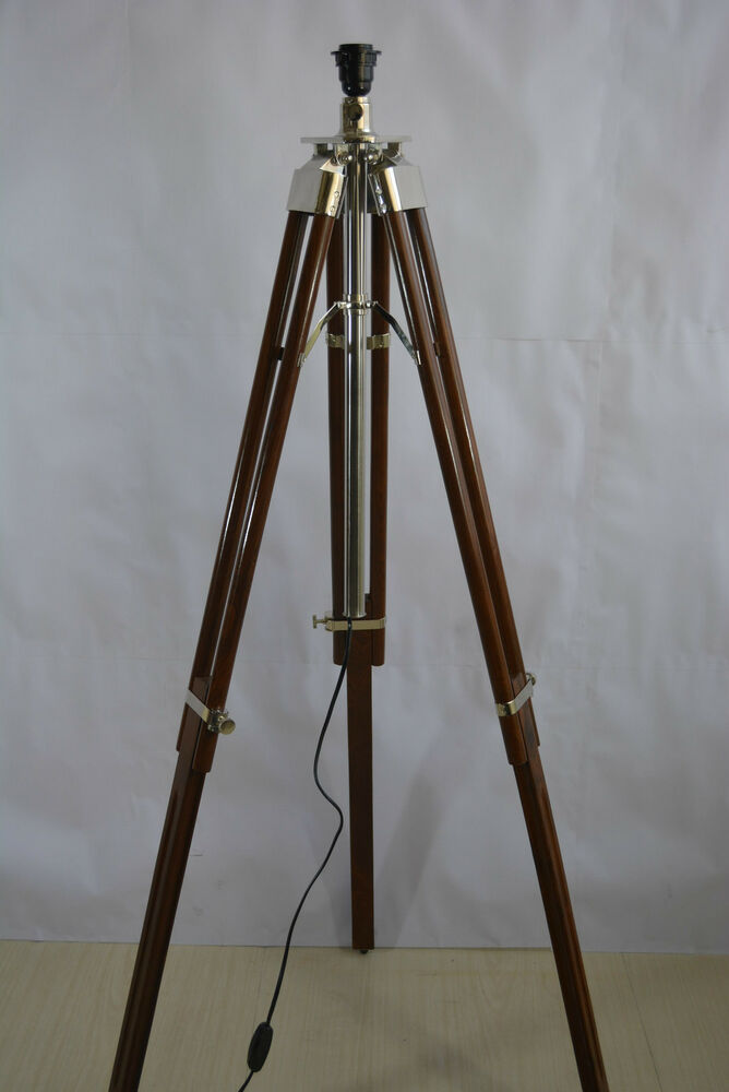 Chrome Brown Wooden Tripod Spot Light Vintage Industrial ...