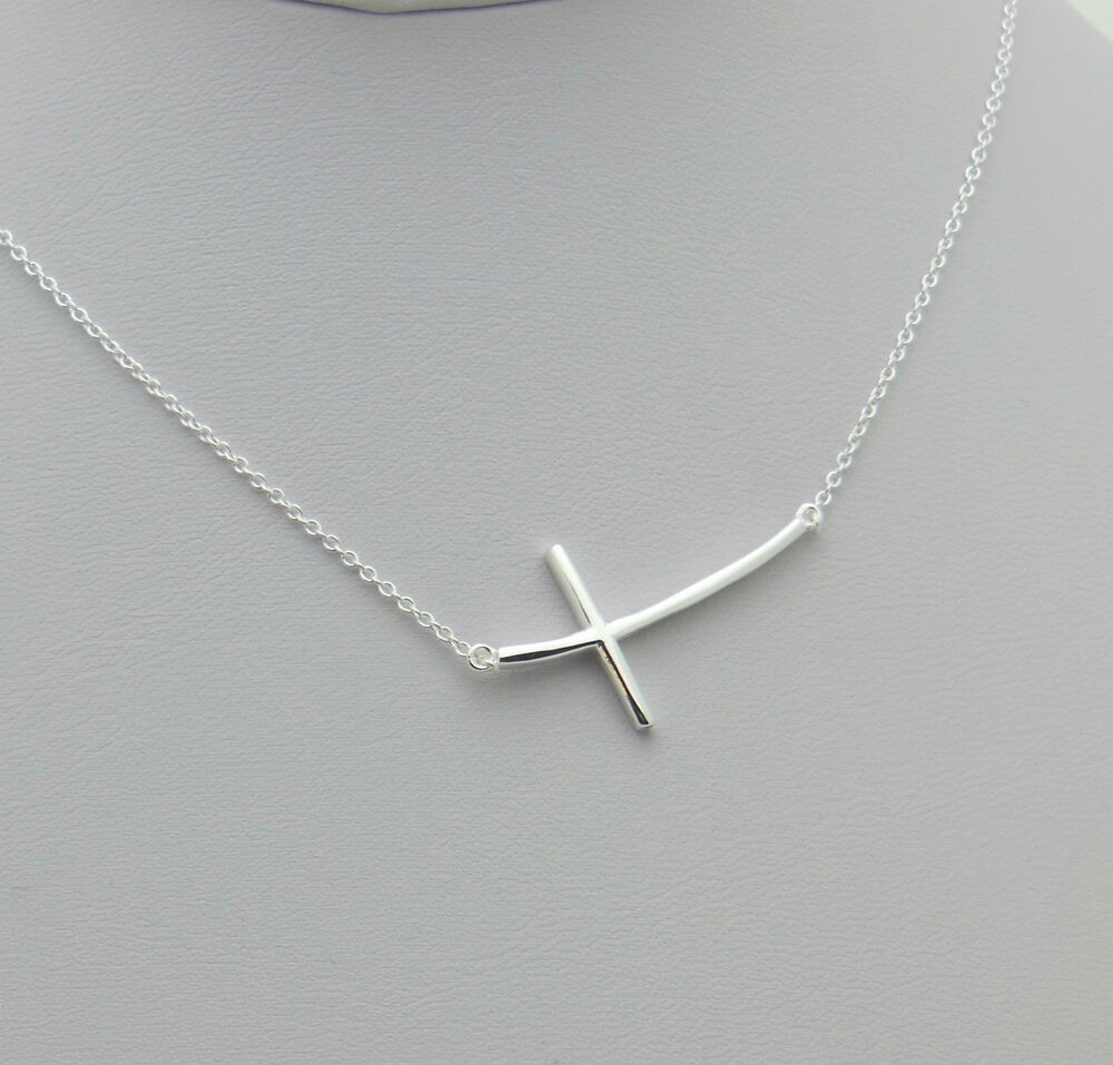 Sideways Curved Cross Necklace: .925 Sterling Silver Solid Large Curved Sideways Cross