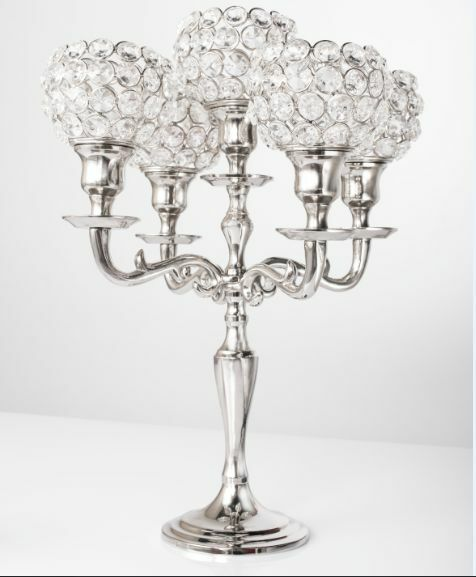 Arm silver crystal globe candelabra wedding centrepieces