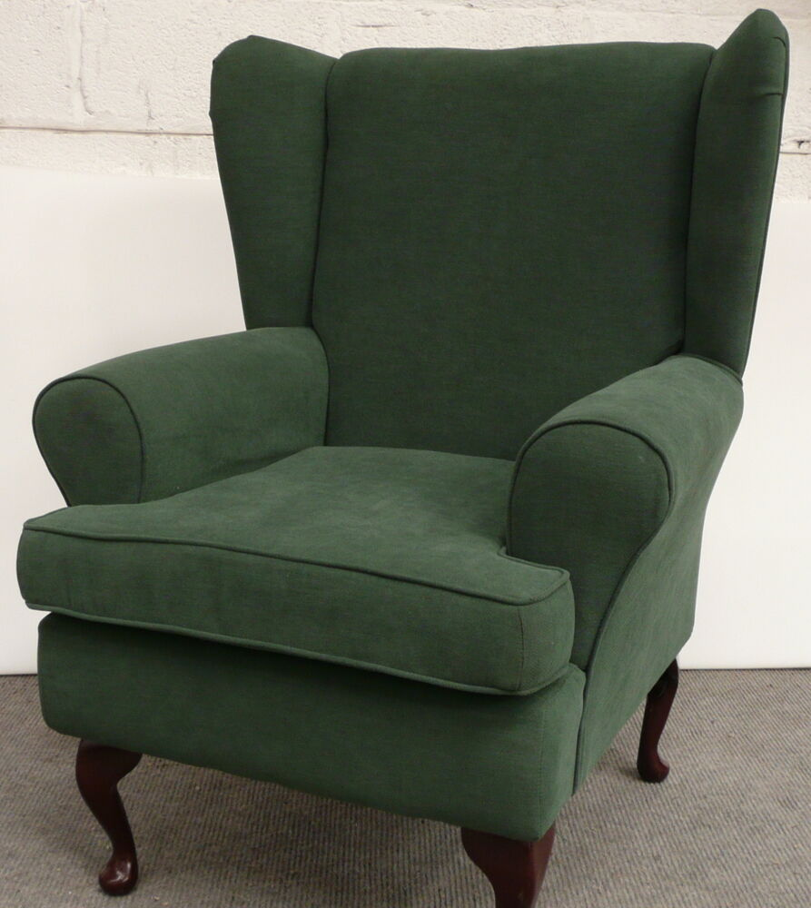 Chair Furniture: ARM CHAIR/ WING BACK CHAIR/ FIRESIDE CHAIR IN GREEN