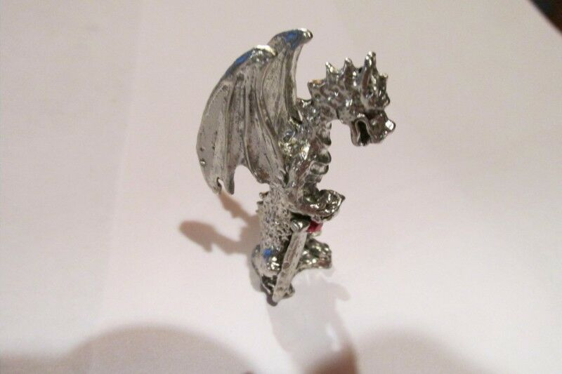 Pewter dragon with austrian crystal made in usa ebay - Pewter dragon statues ...