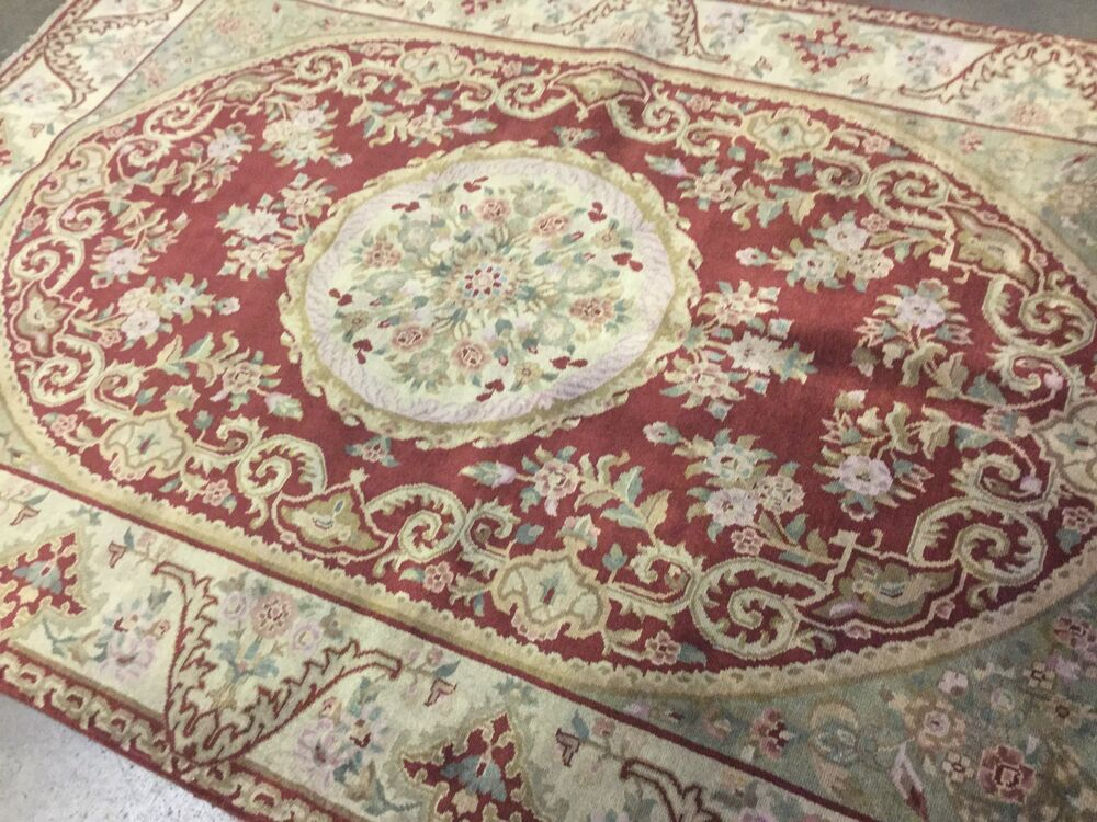 French Oriental Rugs : Rust beige aubusson french oriental area rug wool