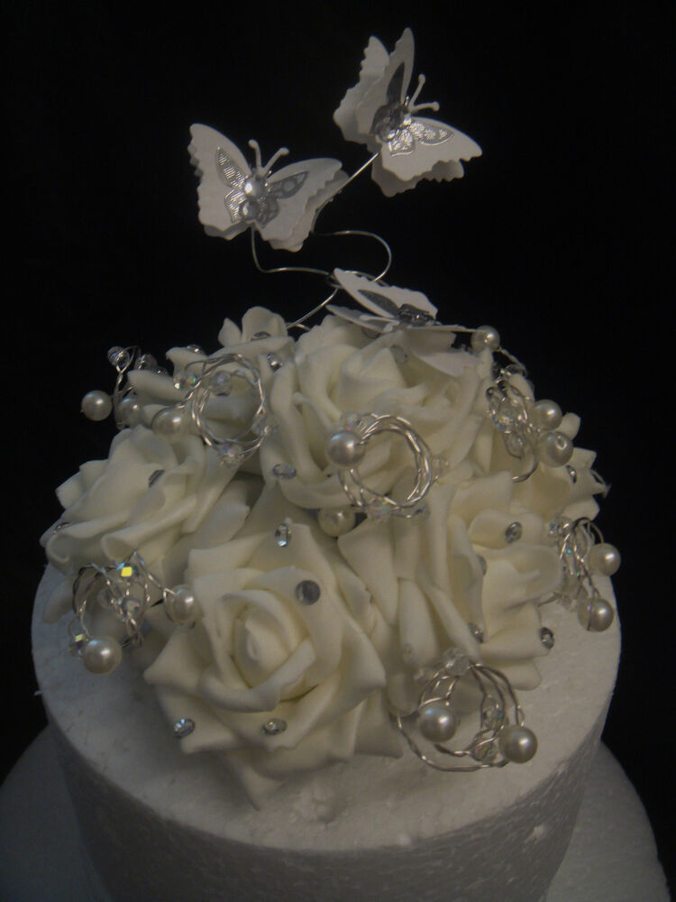 Cut Glass Crystal Pearl Rose Butterfly Wedding Birthday Celebration