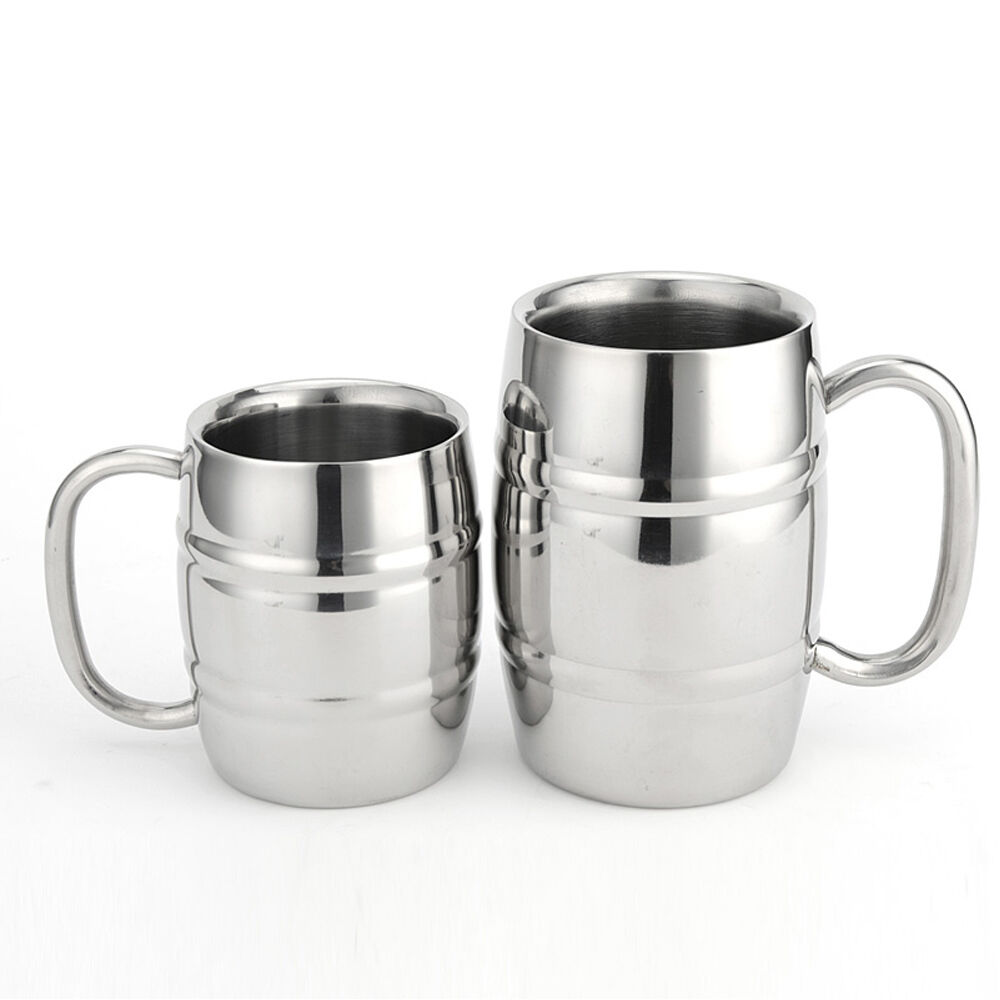 stainless steel mug cup drinking beer stein coffee. Black Bedroom Furniture Sets. Home Design Ideas