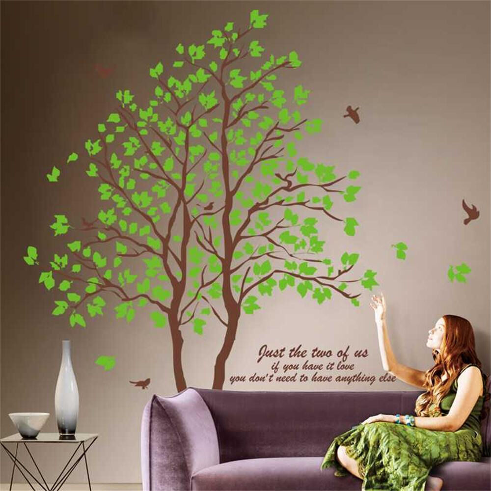 Green Tree Quotes Wall Sticker Mural Home Decals Removable
