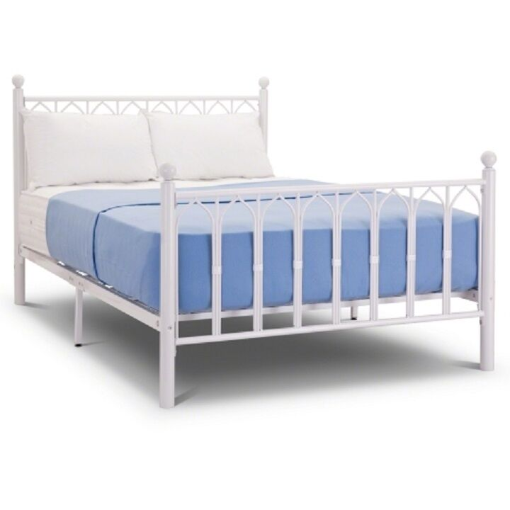 NEW 4ft6 Double White Gothic Metal Bed Frame Mattress