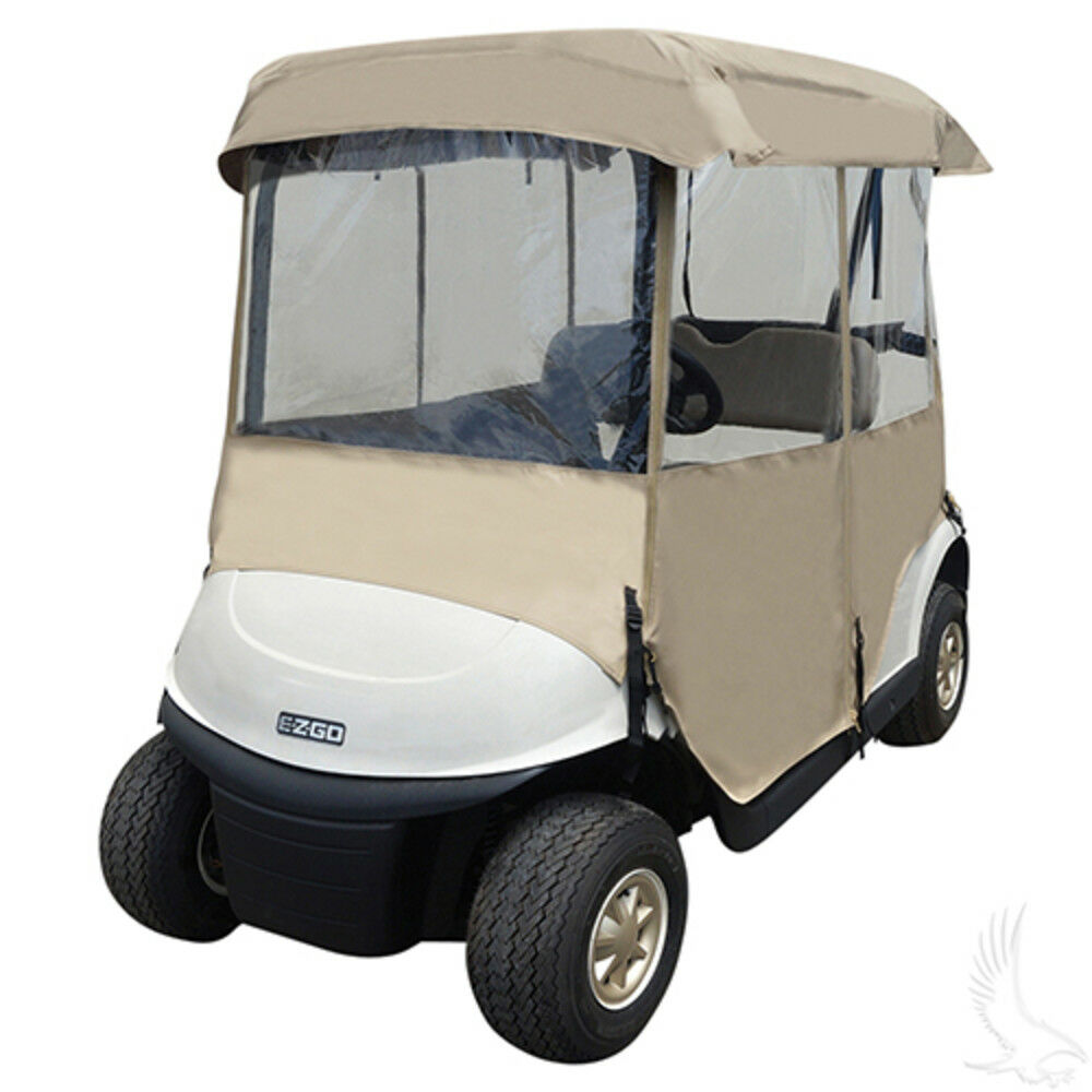 golf cart 4 sided enclosure club car ezgo yamaha cover tan. Black Bedroom Furniture Sets. Home Design Ideas