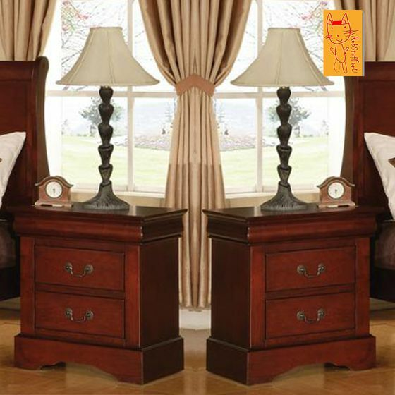 Set Of 2 End Table Nightstand Bedroom Furniture Two Drawers Tables Bed New Ebay