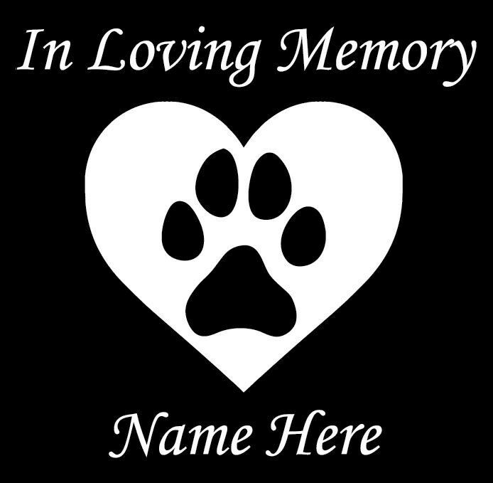 In Loving Memory Car Decals >> In Loving Memory Dog Decal Window Sticker Heart Paw Print | eBay