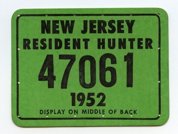 Vintage 1952 new jersey hunting license ebay for Michigan non resident fishing license