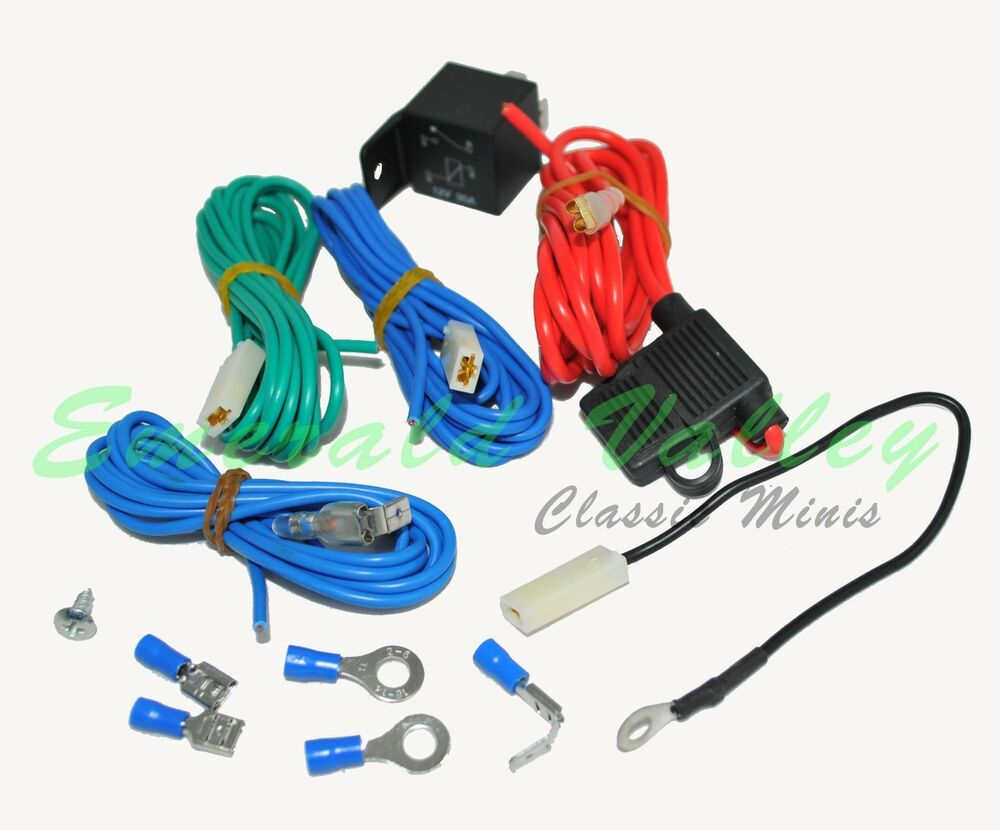 classic mini new relay wiring kit for spot or fog lamps. Black Bedroom Furniture Sets. Home Design Ideas