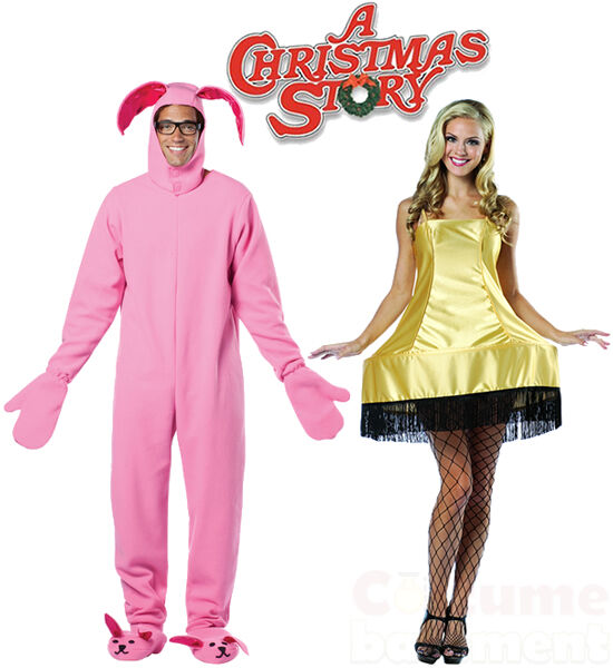Pink bunny suit leg lamp costume fun couples a christmas