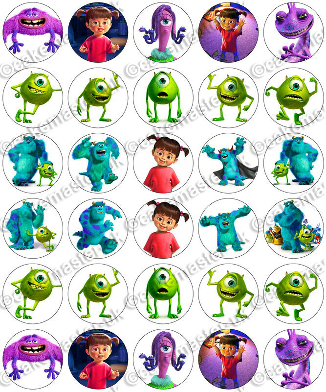 30 x Monsters Inc Party Edible Rice Wafer Paper Cupcake Toppers | eBay