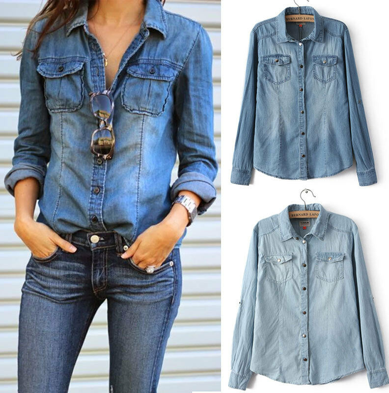 Fashion Retro Women Casual Blue Jean Denim Long Sleeve Shirt Tops ...