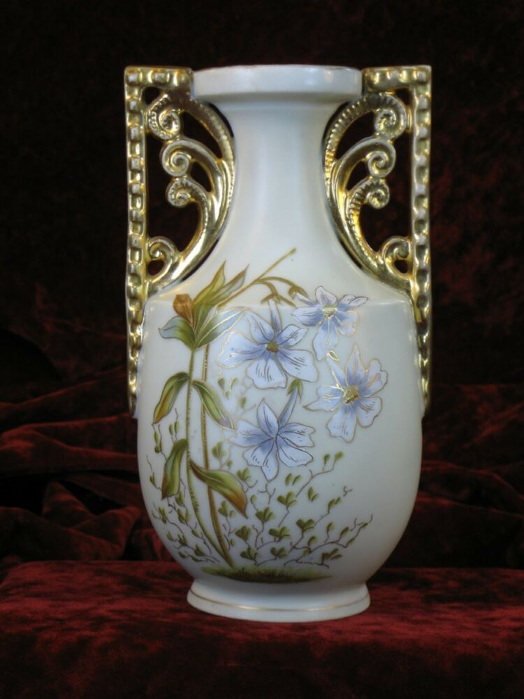 art deco hand painted carlsbad austrian porcelain vase On pottery painting carlsbad