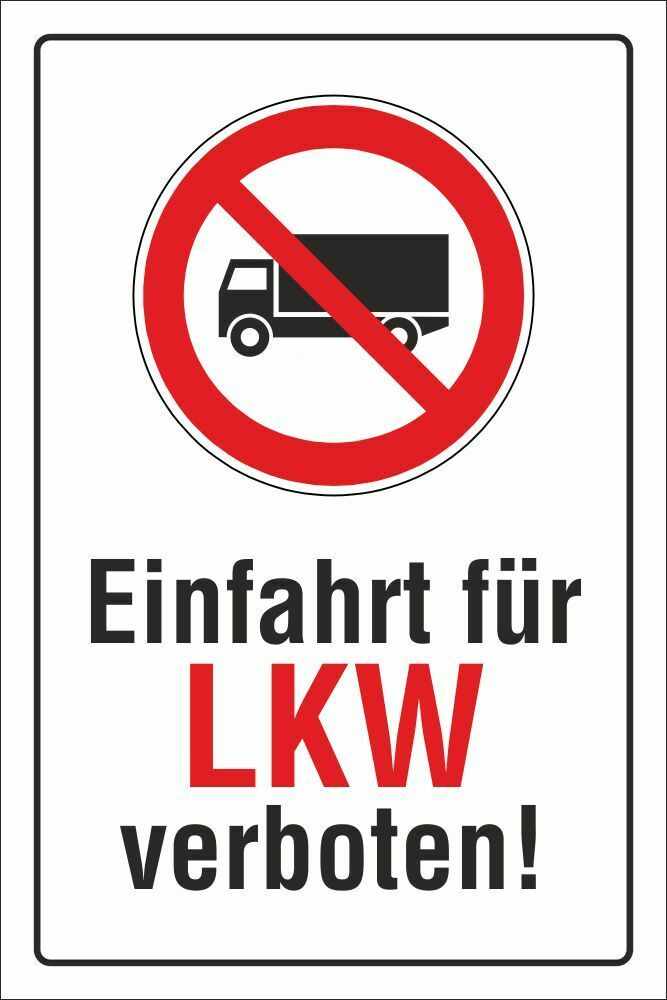 schild einfahrt f r lkw verboten 3 mm alu verbund ebay. Black Bedroom Furniture Sets. Home Design Ideas