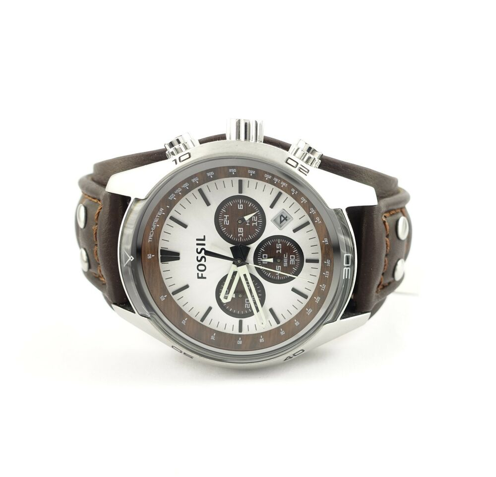 fossil chronograph brown leather silver mens