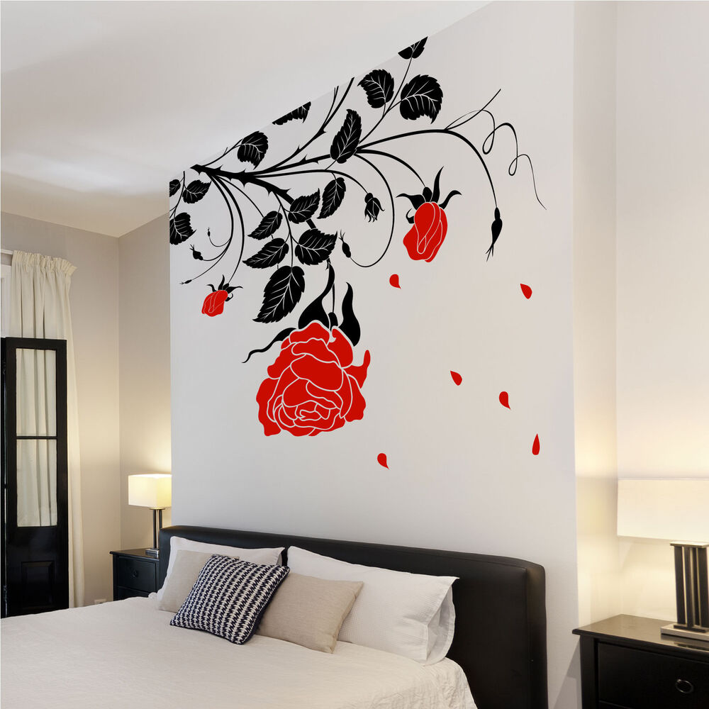 Large flower roses vines vinyl wall art stickers wall for Red wall art