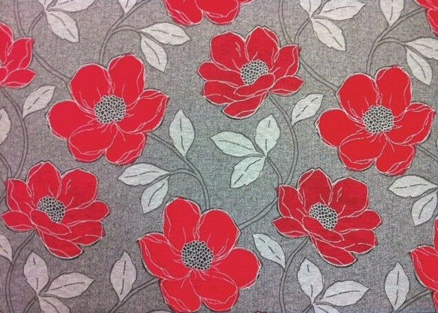 Designer quality red grey black floral upholstery curtain for Fabric material for sale