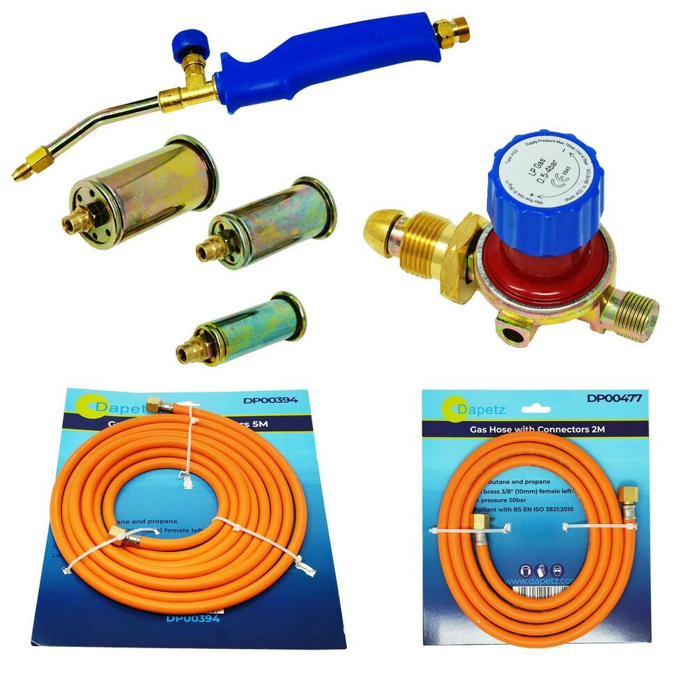 Propane Butane Gas Torch Burner 5 Metre Hose Regulator