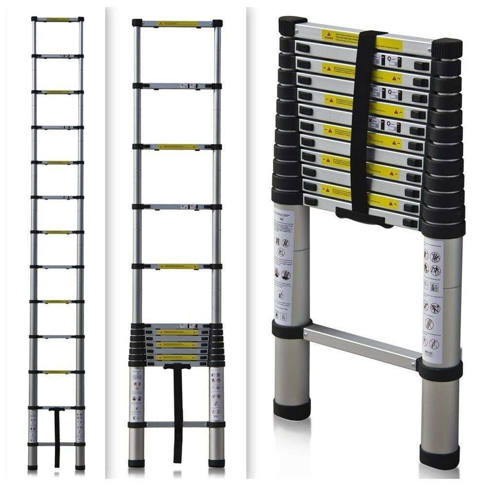 12 5 Extension Telescoping Aluminum Ladder : Telescoping ladder ft lb telescopic rv hunting
