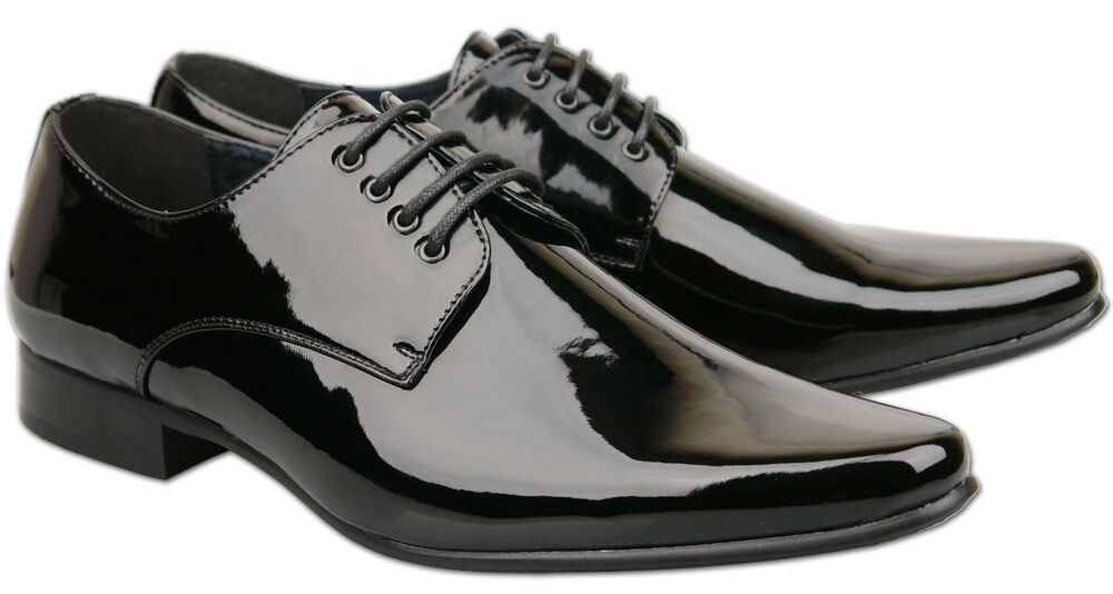 mens brand new black leather lined patent wedding shoes
