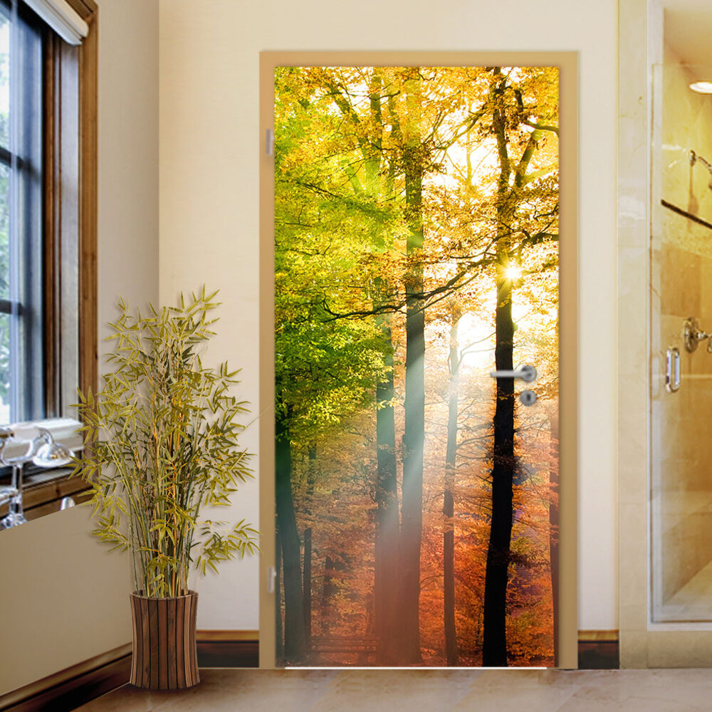 Big photo forest lights door mural home interior for Door mural stickers