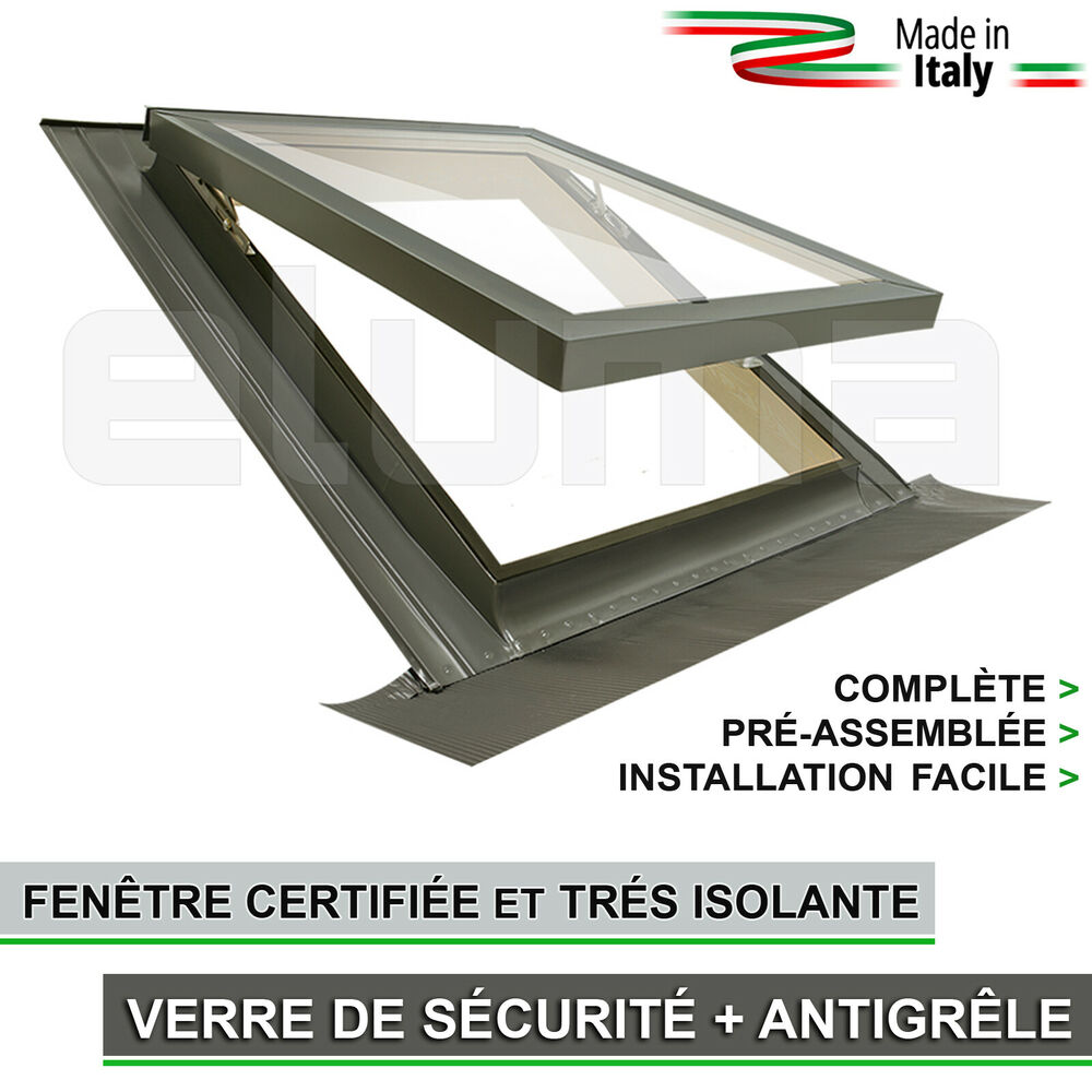 fen tre de toit lucarne ligne comfort vasistas 55x98 ouverture genre velux ebay. Black Bedroom Furniture Sets. Home Design Ideas