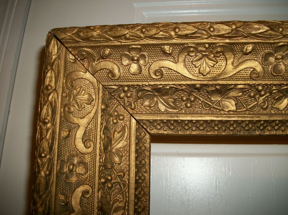 Rare Large Vintage Heavy Wood Gold Gilt Gesso Frame Fits