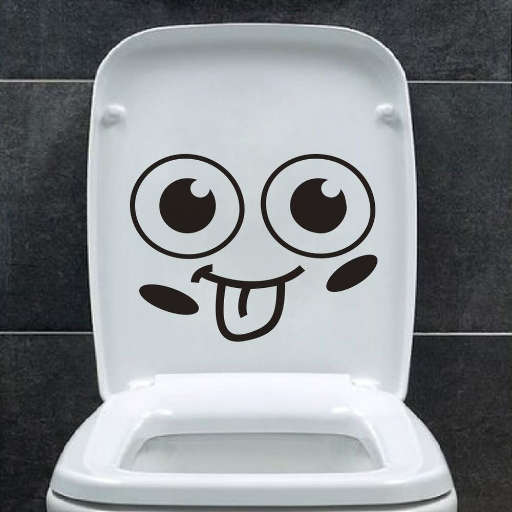 Smile face toilet decal vinyl wall mural art decor funny for Decoration wc