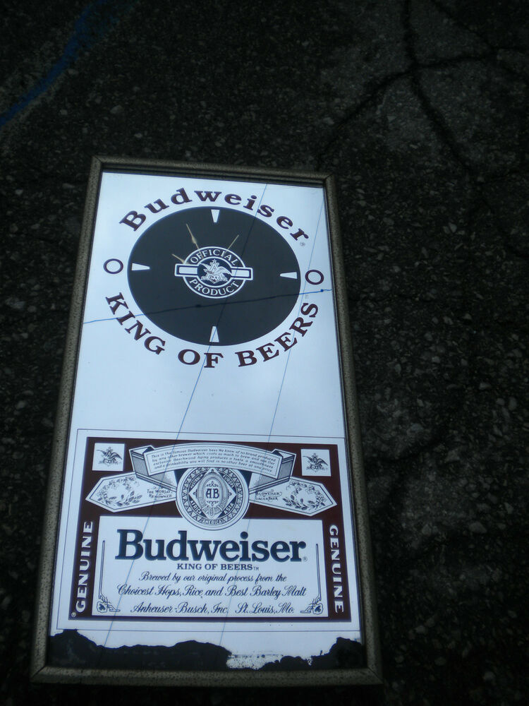 Vintage Budweiser Bud Beer Bar Mirrored Sign Amp Clock 20 1