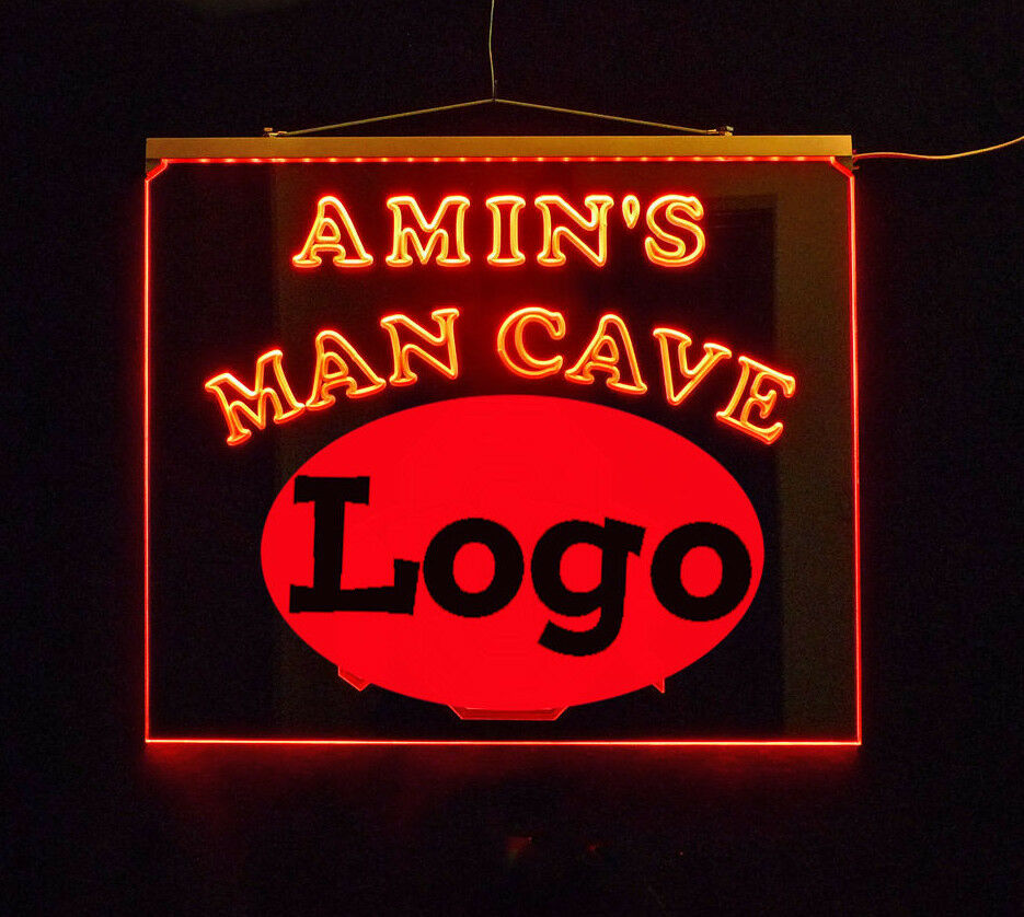Personalized Sports Man Cave Signs : Personalized man cave bar custom led sign sports logo