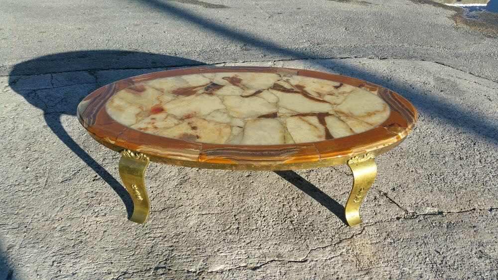 mid century modern muller of mexico onyx coffee table w curvaceous brass legs p ebay. Black Bedroom Furniture Sets. Home Design Ideas