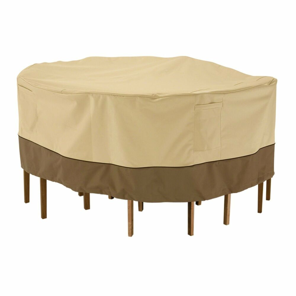 Patio Table & Chair Set Cover Round Deck Furniture Protection Winter