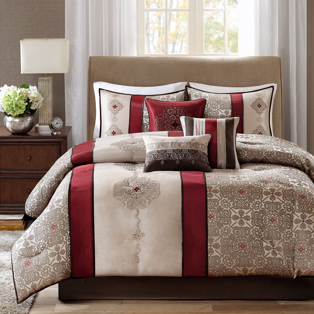 Beautiful modern elegant blue brown red scroll grey beige textured comforter set ebay for Beautiful bedroom comforter sets