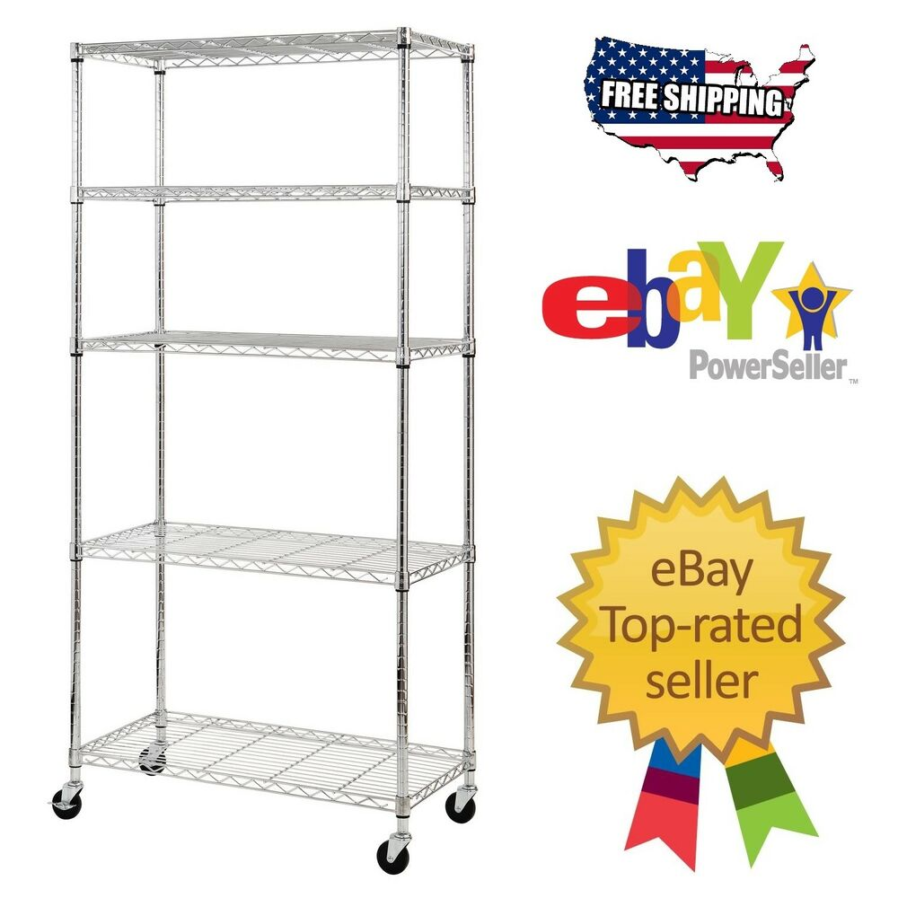 Heavy Duty Garage Steel Wire Chrome Rolling 5 Shelf