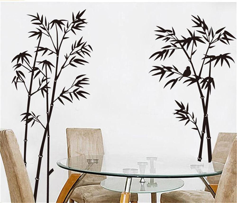 Wall stickers home decor vinyl art decal mural bamboo - Wall sticker ideas for living room ...