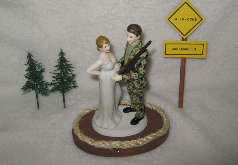 pregnant wedding cake toppers shotgun wedding camo groom baby cake 18719